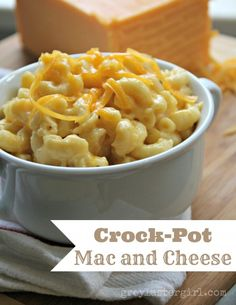 """Crock-Pot Mac and Cheese   Let me just say """"Yum-o"""" Only changes I made were to add a bit shredded motz and leave out the salt."""