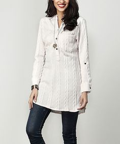 Take a look at this Cream Cable-Knit Notch Neck Roll-Tab Tunic today!