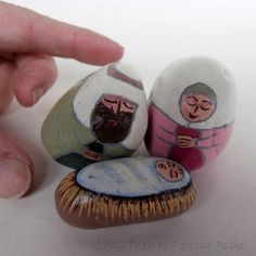 Nativity set painted on small rocks using Spring hues