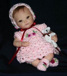 Crochet Pattern 1 DRESS Set to fit Berenguer by zeepazoo Doll Clothes Patterns, Doll Patterns, Crochet Patterns, Crochet Clothes, Crochet Hats, Vinyl Dolls, Fit 4, Dollhouse Dolls, Sweet Dress