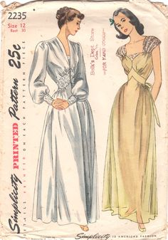 Simplicity 2235 1940s Misses Lacy Nightgown and by mbchills
