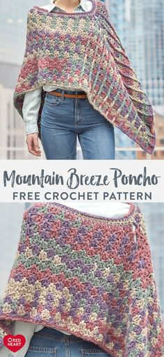 Mountain Breeze Poncho free crochet pattern in Dreamy Stripes. Crochet a poncho . Mountain Breeze Poncho free crochet pattern in Dreamy Stripes. Crochet a poncho with a modern twist thanks to the soft, . Crochet Shawls And Wraps, Crochet Scarves, Crochet Clothes, Crochet Baby, Knit Crochet, Easy Crochet Shawl, Crochet Mittens, Crochet Sweaters, Tunisian Crochet