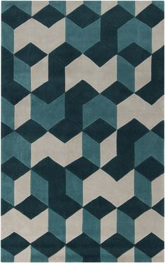 Plush rug in shades of teal with an awesome retro pattern from the Cosmopolitan Collection by Surya. (COS-9189)