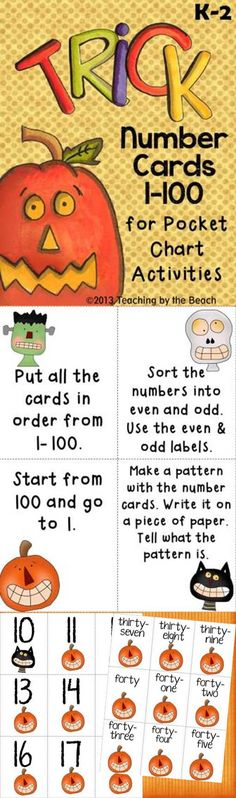 3 sets of cards for numbers 1-100. The number cards are differentiated for different student abilities. Set one has each group of tens with a different clipart to make it easier to order them.  Set two is in one style to make it a bit more difficult when ordering them.   Set three are the number words.   You can use all three sets for different pocket chart activities. There are some task cards included with some odd and even sorting labels also included.   By Teaching by the Beach