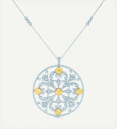 White & Yellow diamond necklace and pendant by Tiffany & Co.