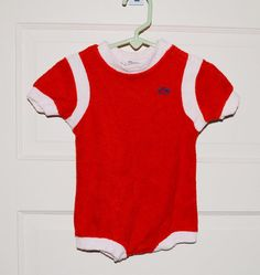 Vintage Baby Onesie Izod 70s Red and White Short Sleeve Terry Cloth (12 Mos.). $20.00, via Etsy.