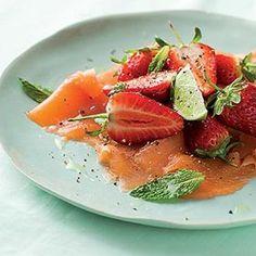 Smoked salmon, mint and strawberry