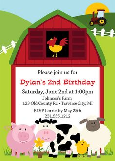 Barnyard Farm Birthday Invitation - Printable Kids Birthday Party Invite - Digital File