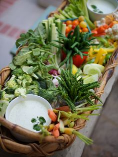 Line a basket with wet paper towels and fill with fresh veggies for a beautiful crudite display.