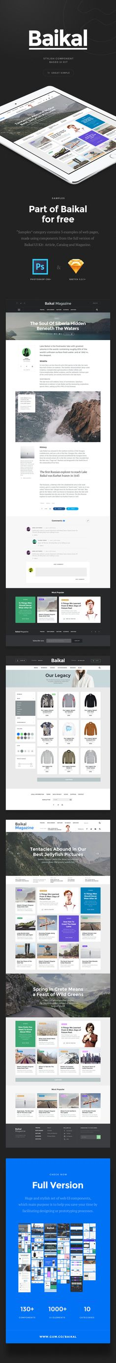 Baikal is a stylish, pixel perfect UI kit that you may find useful for developing your future web design projects...