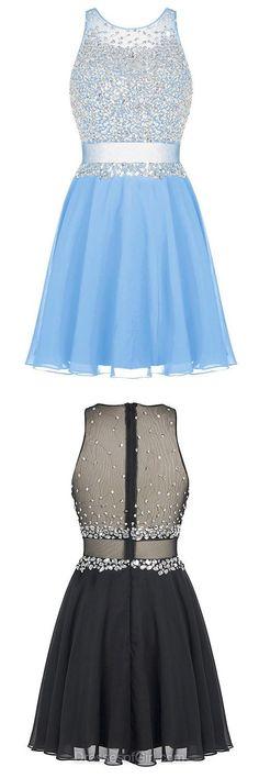 Beaded Prom Dress, Chiffon Prom Dresses,Tulle Homecoming Dress