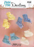Peter Pan 229 - baby bootees - vintage baby crochet pattern