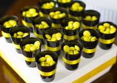 Little black cups, with yellow sweets/candy, trimmed with yellow BATMAN Batman Birthday, Batman Party, Superhero Birthday Party, 3rd Birthday Parties, Birthday Ideas, Batman Wedding, Batman Vs Superman, Party Planning, Party Ideas