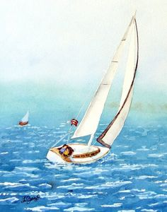 Watercolor Prints of Sailboats Watercolour Painting San Watercolor Print, Watercolour Painting, Painting Prints, Art Prints, Yacht Builders, Sailboat Painting, Ship Drawing, Boat Art, Galway Ireland