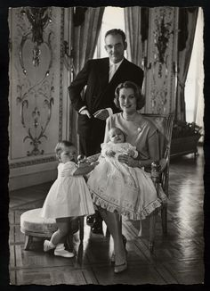 Princess Grace (Kelly) with her husband Prince Rainier III of Monaco & children Princess Caroline (left) and Prince Albert II [1958]