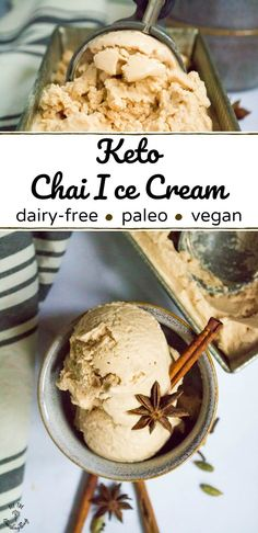 It's super easy to make this low-carb/keto Chai Ice Cream that's dairy-free, paleo, and vegan -- that's flavored with essential oils! Prefer not to ingest essential oils? No problem -- I give dried chai spice measurements, too. This Keto Chai Ice Cream is Keto Friendly Ice Cream, Paleo Ice Cream, Avocado Ice Cream, Low Carb Ice Cream, Dairy Free Ice Cream, Coconut Ice Cream, Homemade Ice Cream, Ice Cream Recipes, Dairy Free Gelato