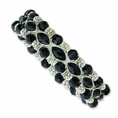 Silver-tone Black Epoxy Stones and Glass Beads Stretch Bracelet | Your #1 Source for Jewelry and Accessories