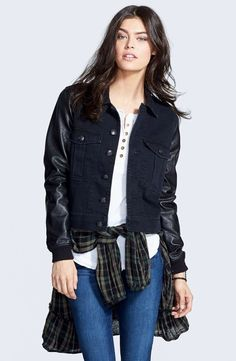 NWT $148 Free People Denim Black Jacket Faux Leather Sleeve relaxed fit S #FreePeople #denimjacket