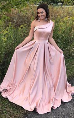 elegant one shoulder pink satin prom dress, fashion pink satin one shoulder party dress