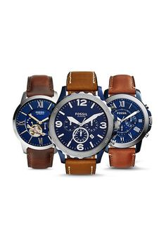 Take a tint from us and pair handsome brown and never-fail navy, our favorite color palette for his new spring watch.