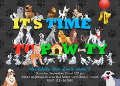 All Disney Dogs Invitation, 101 Dalmatians Party, Lady and The Tramp Birthday Invite Party Themes For Boys, Birthday Party Themes, Birthday Invitations, Birthday Ideas, Dalmatian Party, Puppy Party, Karate Party, Dog Themed Parties, Disney Dogs