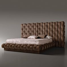 Exclusive Italian Bed With Large Luxury Hand Woven Headboard - Juliettes Interiors - Exclusive Italian Bed With Large Luxury Hand Woven Headboard - Contemporary Bedroom Furniture, Modern Bedroom, Bedroom Decor, Luxury Bedroom Design, Master Bedroom Design, Mid Century Bed, Rooms Ideas, Headboards For Beds, Bed Furniture