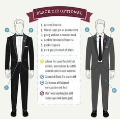 Choose a necktie (instead of a bowtie) for a slightly more casual feel that's still dressy. Or opt for a charcoal gray suit that feels a little more chill than the classic black look.