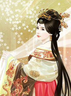 chinese art 中国古美人 - Hanfu (Elaborate Hairstyle)
