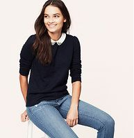 Jewel Collared Sweatshirt - A jewel-topped collar dazzles this slubbed cotton classic. 3/4 sleeves. Puff shoulders. Banded cuffs and hem.