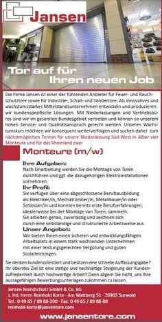 #fbStellen  | Die Fa. #JansenBrandsch ist ein #familienbewusst agierendes Familien-Unternehmen und sucht Monteure m/w mit einer abgeschlossenen Berufsausbildung als Elektriker, Mechatroniker, Metallbauer und Schlosser.