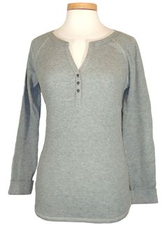 NEW Lucky Brand Womens Shirt Thermal Henley Waffle Knit Cotton Slim Fit Grey XL #LuckyBrand #KnitTop #Casual