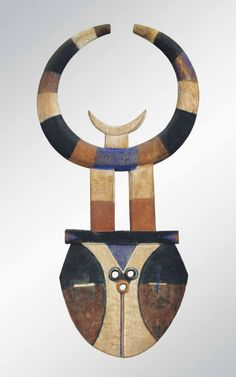 Africa | Nafana Mask from the Bedu people of Ghana and the Ivory Coast | Wood and pigment