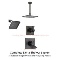 Delta Dryden Venetian Bronze Shower System with Dual Control Shower Handle, 3-setting Diverter, Large Modern Rain Square Shower Head, and Wall Mount Showerhead SS175184RB