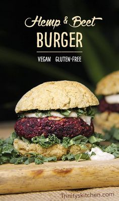 A delicious, super healthy veggie burger made using beets, hemp seeds and sunflower seeds. Easy and quick to make under the grill (broiler).