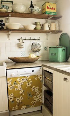 wallpaper or fabric on dishwasher. Open shelves //  Vintage House: Kitchen Renovation