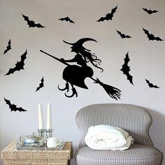 $3.45 Waterproof Happy Halloween Witch Bats Room Wall Sticker