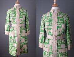 Vintage 60s Irish Linen Coat Dress // Medium #vintage #vintageclothing #madmen #wiggledress #60s #mod