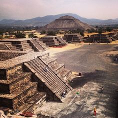 Teotihuacan, Mexico Pyramid of the sun and Pyramid of the Moon...Avenue of the Dead