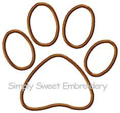 Puppy Paw Print Machine Embroidery Applique Design