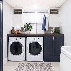 32 Timeless Black And White Laundry Room Ideas Laundry Room Layouts, Laundry Room Storage, Laundry Room Design, Laundry Decor, Laundry Nook, Bathroom Inspo, Laundry In Bathroom, White Laundry Rooms, Farmhouse Laundry Room