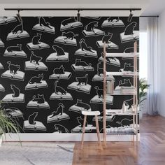 Buy Easily Distracted By Cats And Books Book & Cat Lover Pattern Wall Mural by grandeduc. Worldwide shipping available at Society6.com. Just one of millions of high quality products available.
