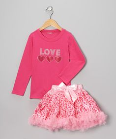 Take a look at this Hot Pink 'Love' Tee & Pettiskirt - Toddler & Girls by So Girly & Twirly on #zulily today!
