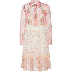 Manoush Vintage Autumn Shirt Dress (1.955 BRL) ❤ liked on Polyvore featuring dresses, button up shirt dress, pink dress, floral dress, shirt dress and midi dress