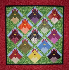 Closeup of another version of chicken quilt.