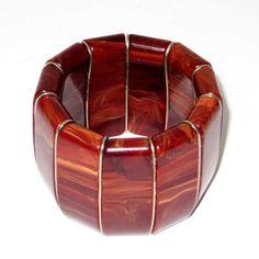 ART DECO Breites, marmoriertes Bakelit Stretcharmband / Bracelet USA 40er Jahre