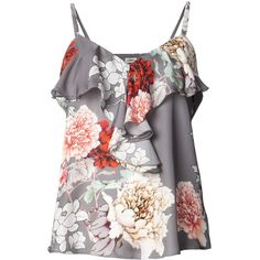 L'AGENCE floral ruffled tank ($220) ❤ liked on Polyvore featuring tops, shirts, tank tops, tanks, blouses, floral shirt, v neck tank, spaghetti strap shirt, ruffle tank top and v-neck tops