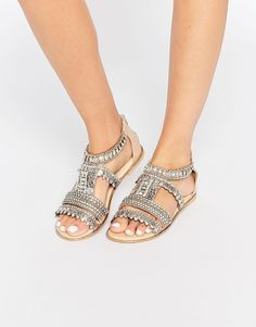 ee80ede2835b Image 1 of River Island Embellished Flat Sandal Shoe Story, Flat Sandals,  Cute Shoes