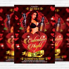 Valentines Night Party - Premium Flyer Template + Facebook Cover http://exclusiveflyer.net/product/valentines-night-party-premium-flyer-template-facebook-cover/