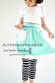 Anthropologie Apron, teal, ruffled, knock off