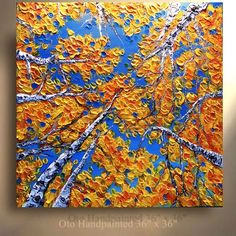 ORIGINAL 36X36 Aspen Tree Painting Landscape Abstract Birch Tree woods treescape Modern Contemporary Heavy Texture Painting by OTO.